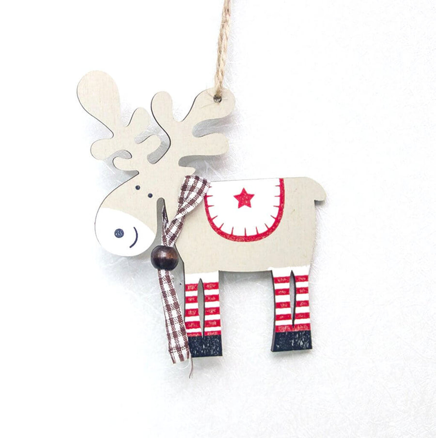 wooden cream white moose Christmas tree hanging ornaments