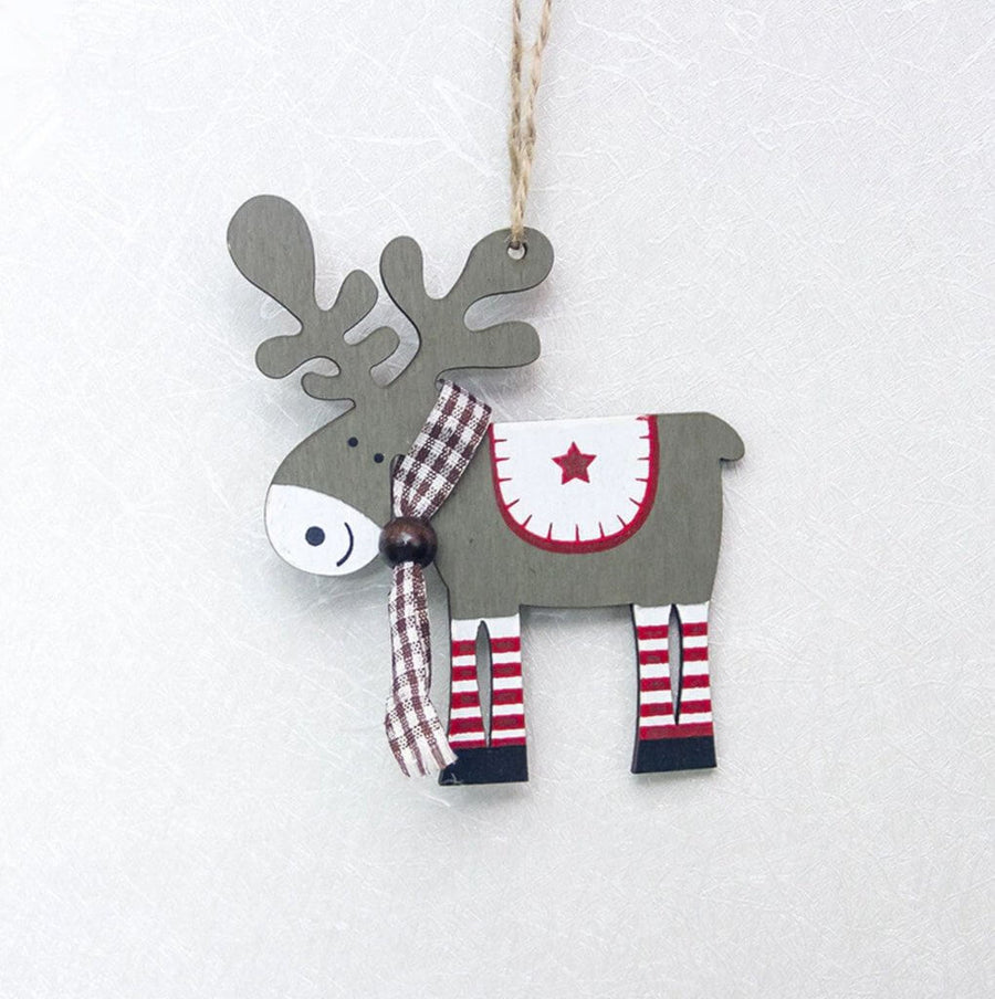 Wooden Grey Moose Christmas Tree Hanging Ornament