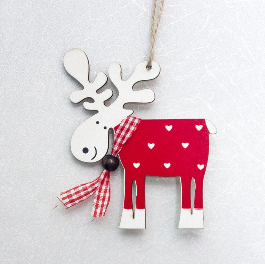 Wooden Moose Christmas Hanging Ornament - Red