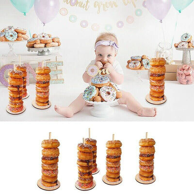 Wooden Party Donut Stacker Free Stand bridal shower baby shower decorations