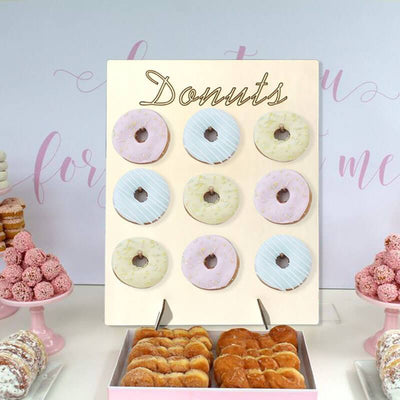 30cm x 40cm Wooden Doughnut Wall Display with Stand bridal shower wedding