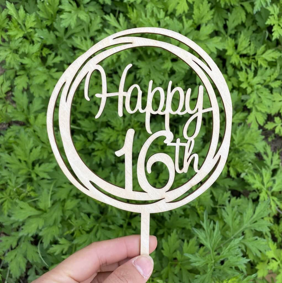 Wooden Geometric Circle Happy 16th Cake Topper