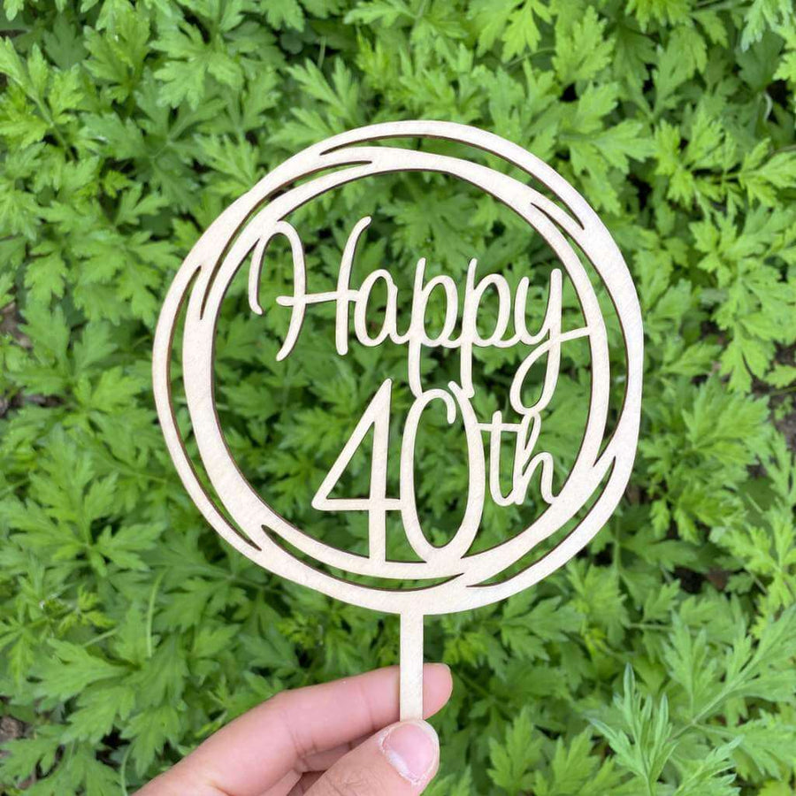 Wooden Geometric Circle Happy 40th Cake Topper