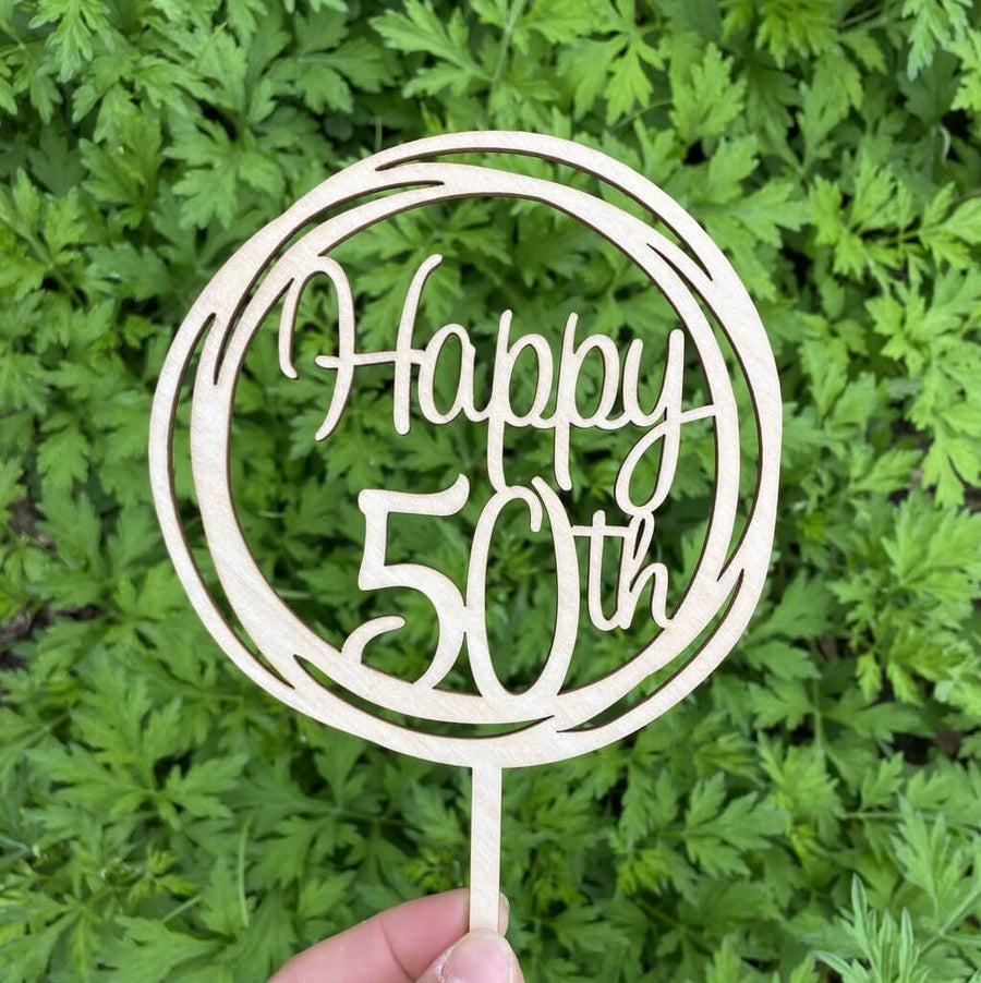 Wooden Geometric Circle Happy 50th Cake Topper