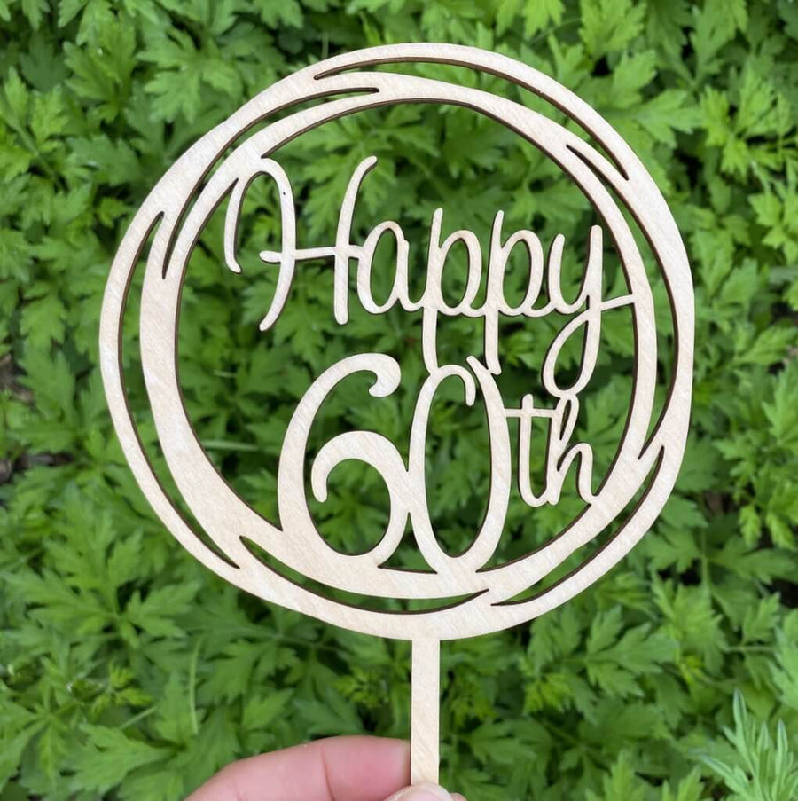 Wooden Geometric Circle Happy 60th Cake Topper