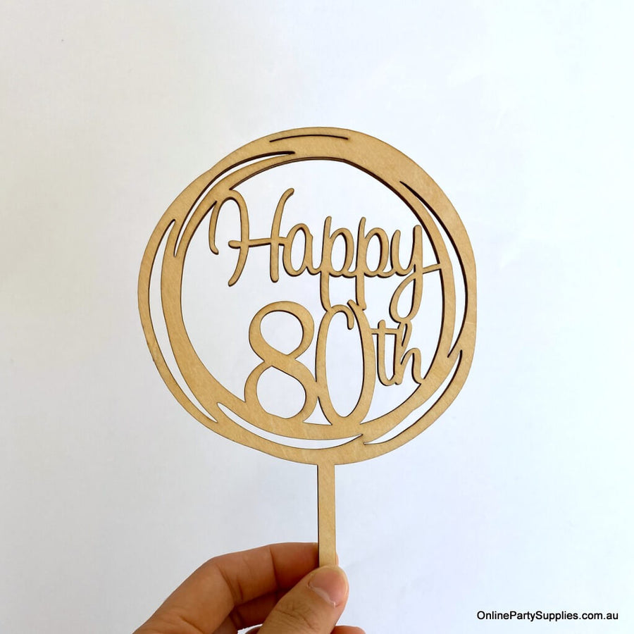 Wooden Geometric Circle Happy 80th Cake Topper