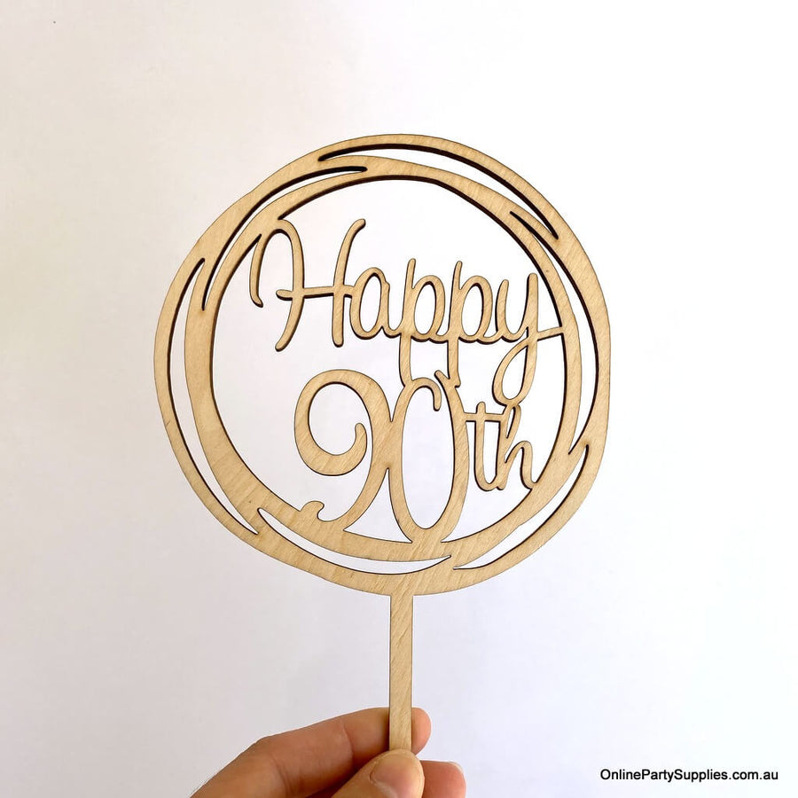Online Party Supplies Australia Wooden Geometric Circle Happy 90th Birthday Cake Topper