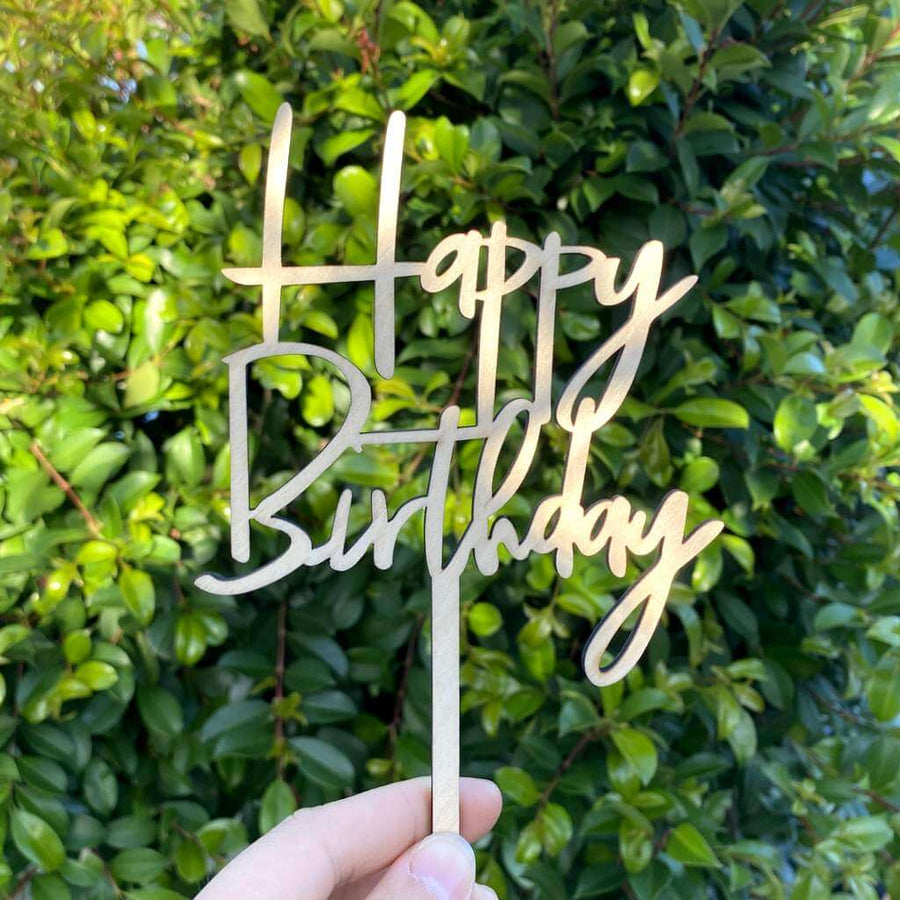Wooden Happy Birthday Script Cake Topper - Style 2