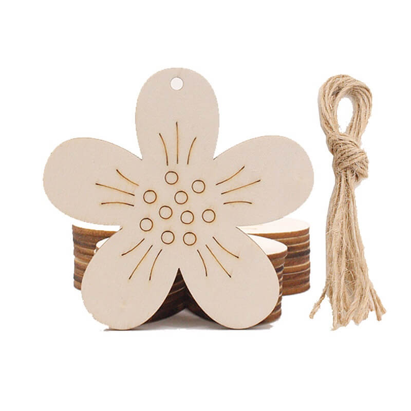 Online Party Supplies Australia Laser Cut Wooden Easter flowers Hanging Decorations 10 Pack