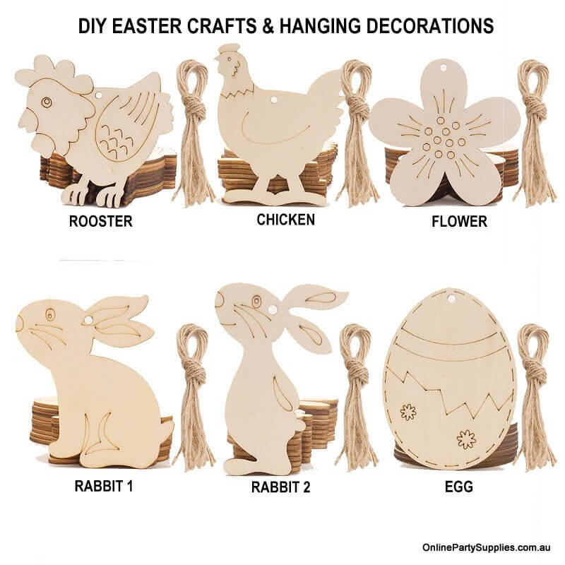 Online Party Supplies Australia Laser Cut Wooden Easter Egg Bunny Rabbits Hanging Decorations 10 Pack