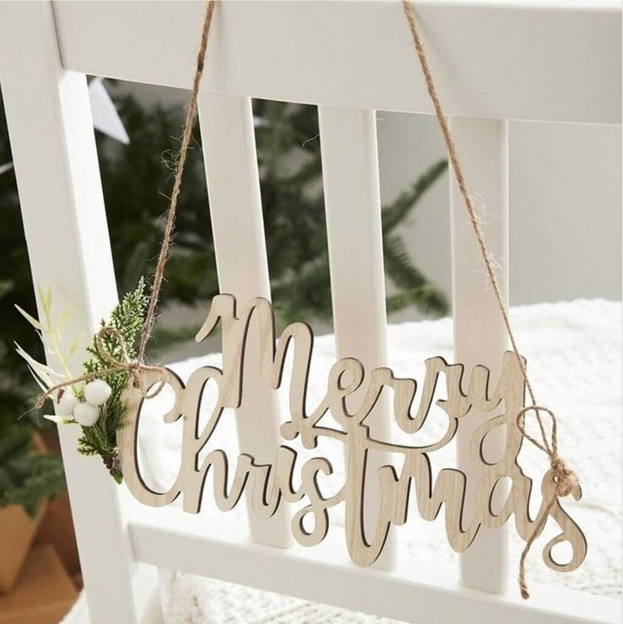 Laser Cut Wooden Merry Christmas Door Sign