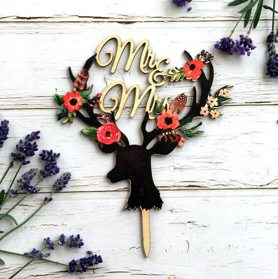 Vintage Wood 'Mr & Mrs' Floral Antler Wedding Bridal Shower Cake Topper