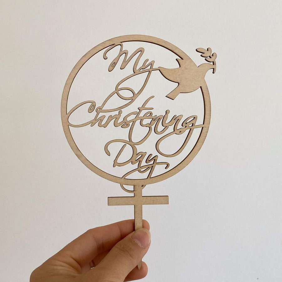 Wooden My Christening Day Dove Cake Topper - Christening / Baptism / Baby Shower Cake Decorations