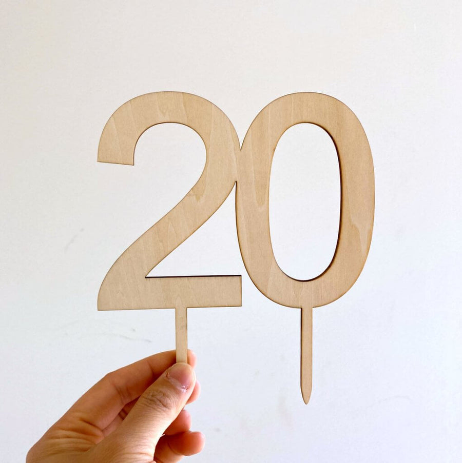 Wooden Number 20 Cake Topper