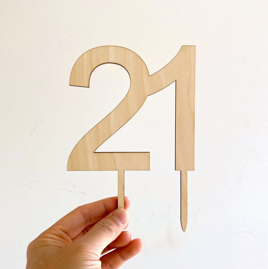 Wooden Number 21 Cake Topper