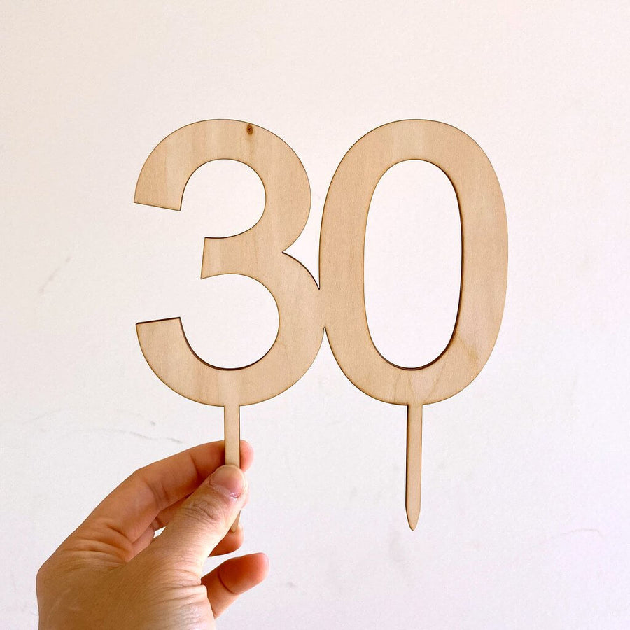 Wooden Number 30 Cake Topper