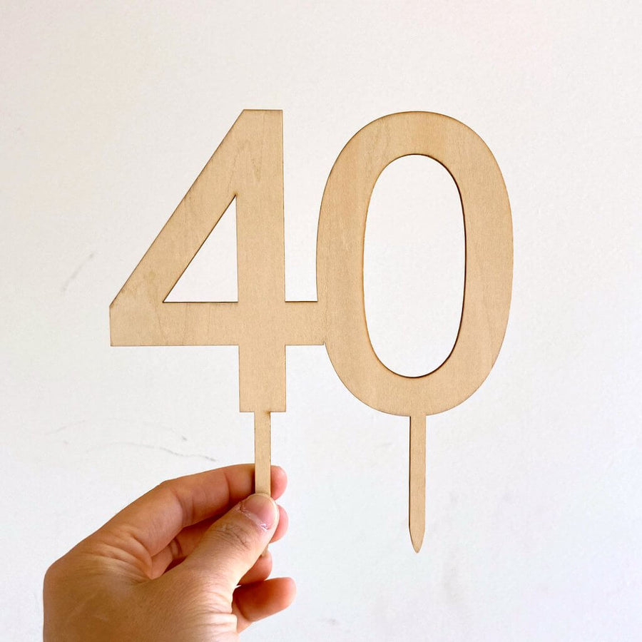 Wooden Number 40 Cake Topper