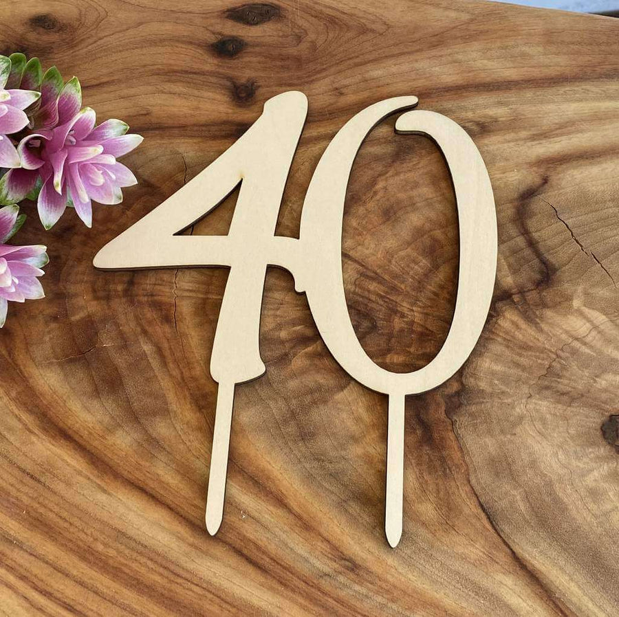 Wooden Number 40 Birthday Cake Topper
