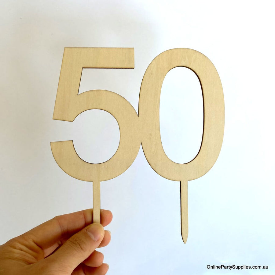 Online Party Supplies Australia  wooden number 50 Cake Topper