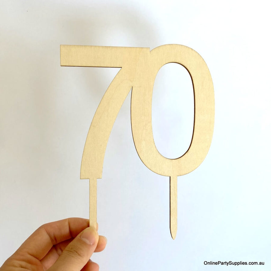 Wooden number 70 Cake Topper