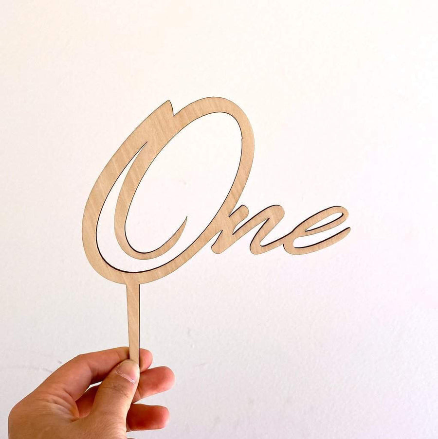 Wooden One Script Happy First Birthday Cake Topper Cake Decorations