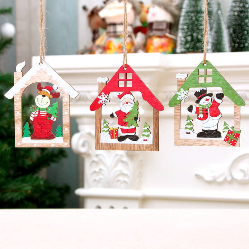 Wooden Christmas House Hanging Ornament