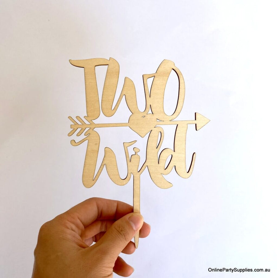 Wooden Two Wild Arrow Cake Topper