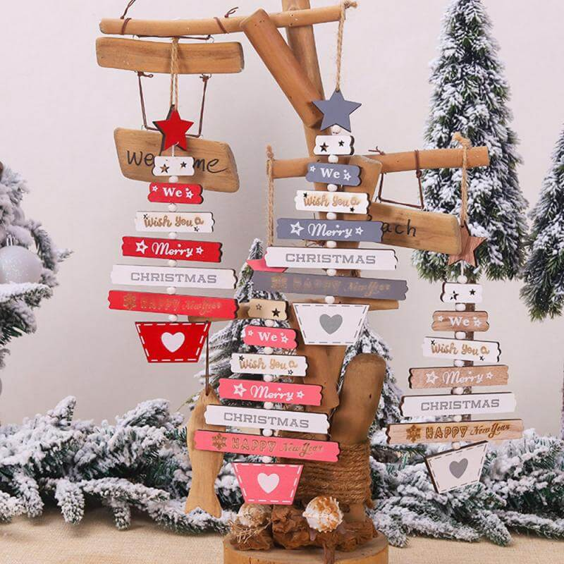 Wooden We Wish You A Merry Christmas & Happy New Year Hanging Pendant