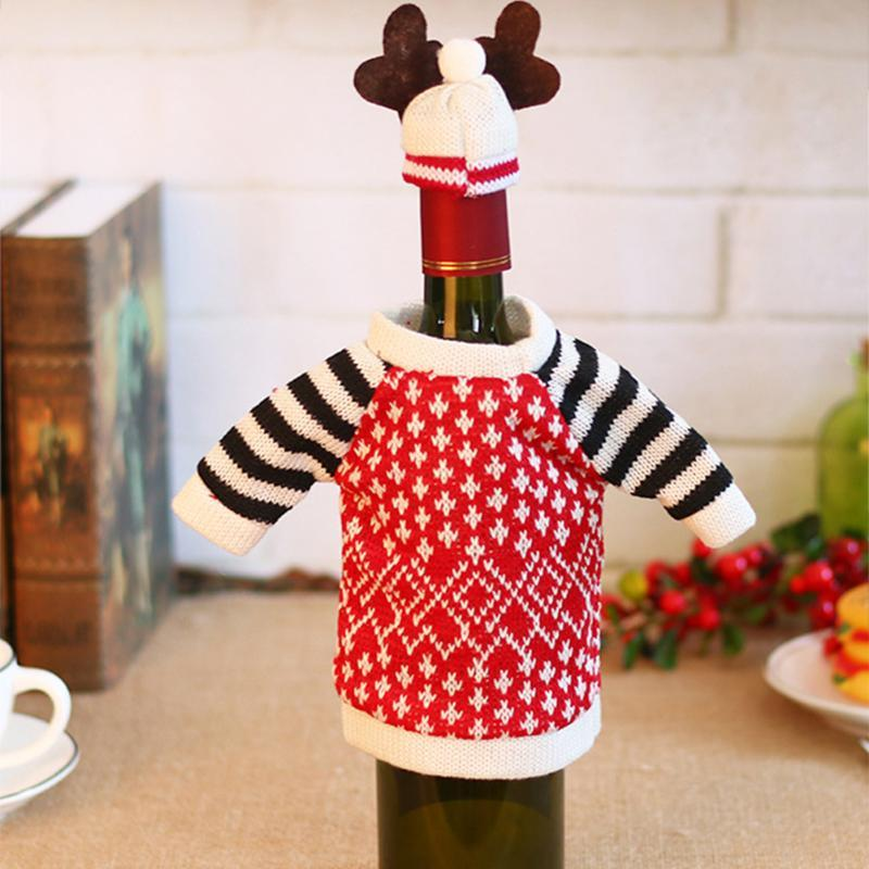 Woolen Christmas Elk Wine Bottle Cover Sweater with Hat