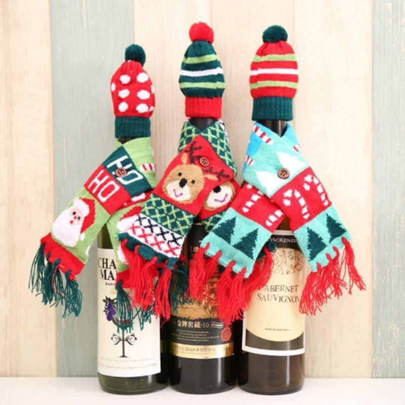 Woolen Christmas Wine Bottle Fringe Scarf with Hat