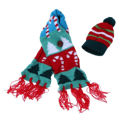 Woolen Christmas Wine Bottle Fringe Scarf with Hat - Online Party Supplies