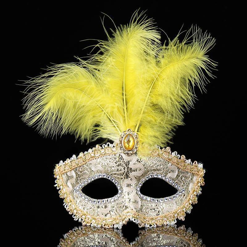 Elegant Tall Feather Lace Masquerade Mask for Women - Yellow