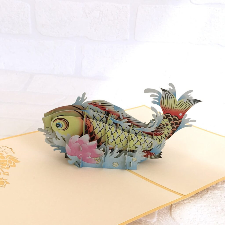Handmade Online Party Supplies Yellow Japanese Koi Fish 3D Pop Up Greeting Card