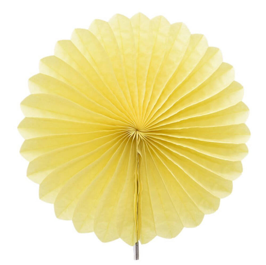 Yellow Tissue Paper Fan - 6 Sizes