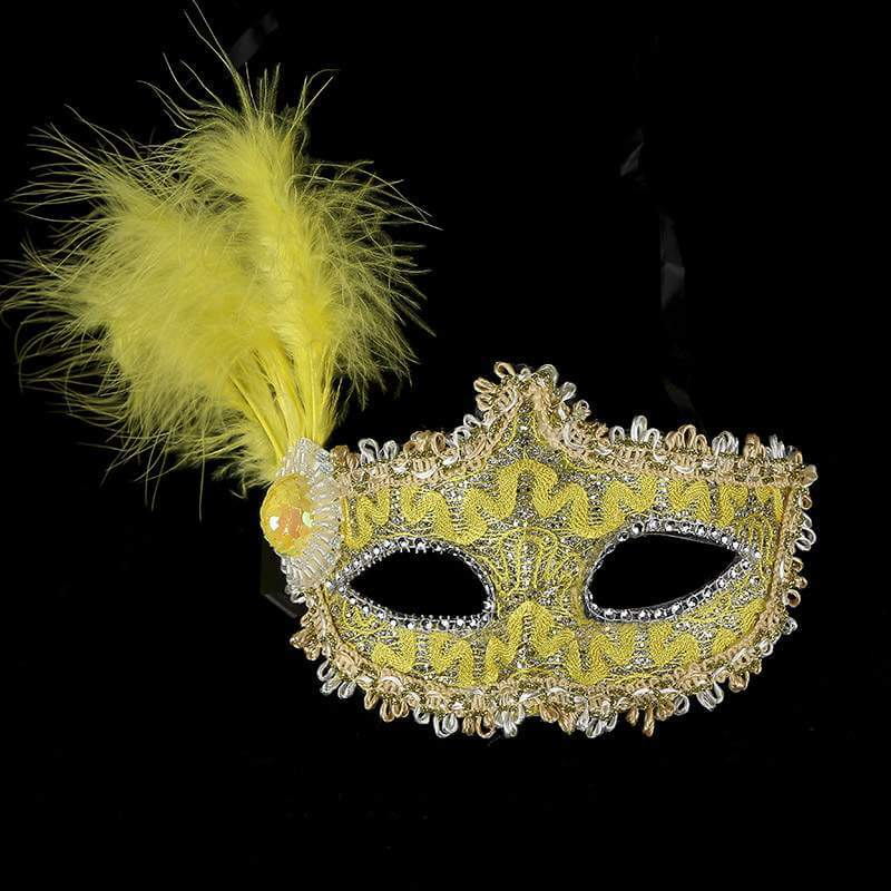 Glitter Sequin Lace Tall Feather Masquerade Mask - Yellow