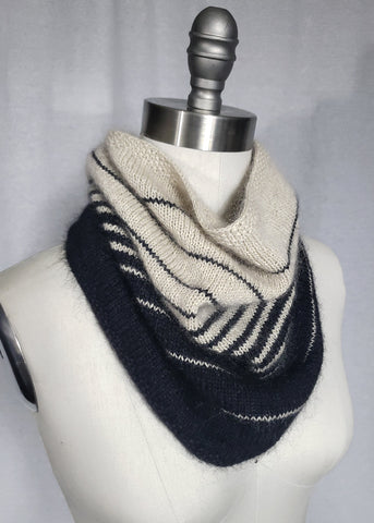 Beehive Wool Shop Sample of Striped Two Colour Cowl in Katia Seta Mohair