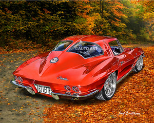 1963 Corvette Split Rear Window, Auto Art, Classi Car, Digital Print, AW4
