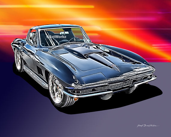 Copy of 1967 Corvette 427 Sting Ray, Classic Car Print, Auto Art, Sports Car Print, AW53