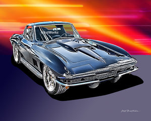 1967 Corvette 427 Sting Ray, Classic Car Print, Auto Art, Sports Car Print, AW53