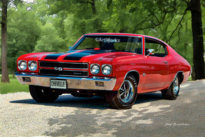 Chevrolet Chevelle SS 454, Muscle Car, Auto Art, Hot Rod Art, Car Art, A120