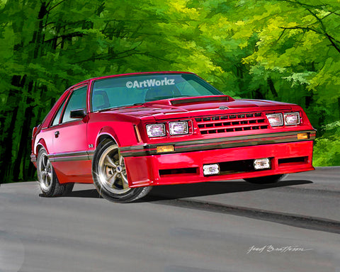 1982 Mustang GT, Car Art, Auto Art, Pony Car, Hot Rod Art, Muscle Car, AW107