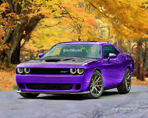 Dodge Challenger Hellcat, Auto Art, Hot Rod Art, Plum Crazy, AW91