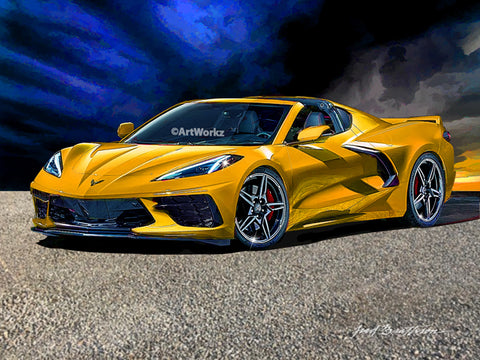 2020 Corvette C8 Stingray, Supercar Print, Auto Art, Sports Car Print, AW116