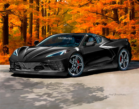 Black 2020 Corvette C8 Stingray, Supercar Print, Auto Art, Sports Car Print, AW116a