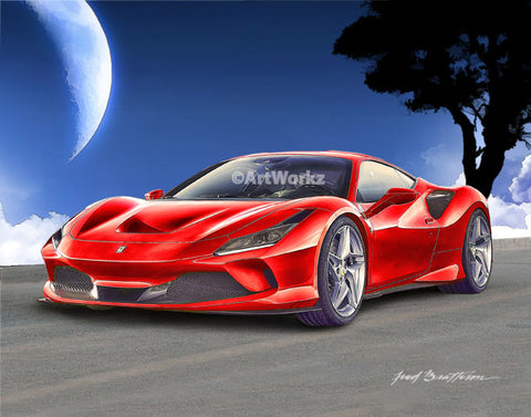 Ferrari F8 Tributo, Auto Art, Sports Car Print, Supercar, Automotive Print, Collector, A119