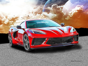 Red 2020 Chevrolet Corvette C8, Auto Art, Mid-Engine Sportscar, AW116r