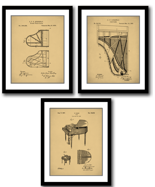 Piano Patent Prints Set of 3, Steinway Piano, Grand Piano, Music Room, P530