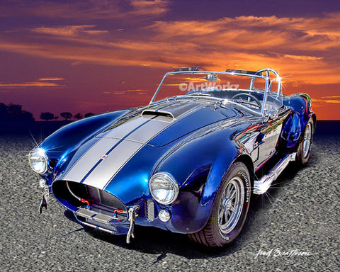 Shelby 427s Cobra, Auto Art, Classic Car Print, Sports Car Print, Super Car, Office Decor, A42