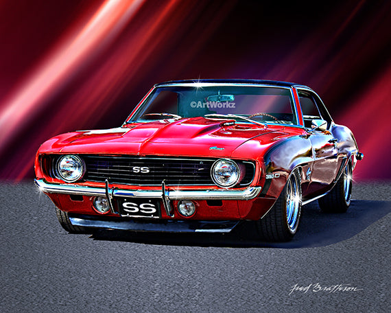 1969 Camaro SS, Auto Art, Muscle Car Print, Car Art, Hot Rod Art, Auto Poster, AW28