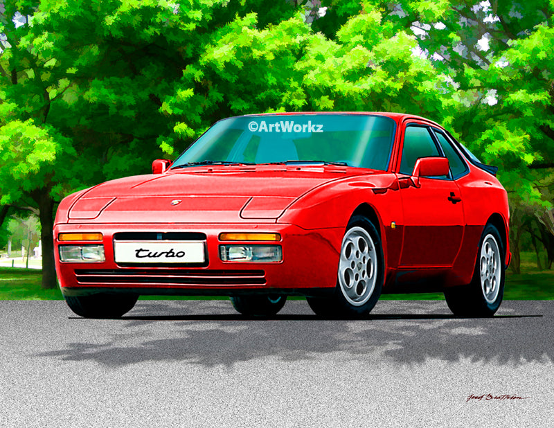 Porsche 944 Turbo Print - Auto Art -Classic Car Print - Sports Car Print - A115
